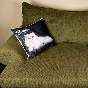 Boopy Funny Boujee Cat Throw Pillow Covers | Comfortable Linen Feeling Fabric with Vibrant CatPrint | 18 inch x 18 inch Novelty Cat Throws for Couch & Bed | Funny Cat Decor & Decorative Cushion Cases 18 x 18-Inch Black