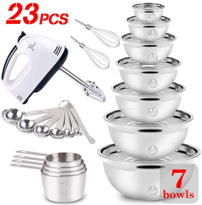 WEPSEN Stainless Steel Mixing Bowls Set Electric Hand Mixer Nesting Bowl Lightweight Mixers Measuring Cups and Spoons Bread Cake Cookies Baking Prepping Milk Frother Kitchen Gadgets Supplies Tools for Starter Beginner