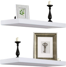 Load image into Gallery viewer, Sorbus Floating Shelf — Hanging Wall Shelves Decoration — Perfect Trophy Display, Photo Frames (White)