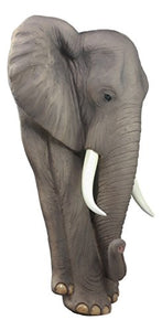 "Ebros Gift Ebros Woolly Safari Marching Bush Elephant Wall Decor 18"" Tall 3D Sculpture Plaque Figurine Symbol of Nobility and Strength Feng Shui Symbol Excellent Home Decor Gift for Wildlife Nature Lovers Large Grey"