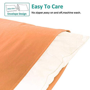 "NTBAY Queen Pillowcases Set of 4, 100% Brushed Microfiber, Soft and Cozy, Wrinkle, Fade, Stain Resistant, with Envelope Closure, Pale Orange Standard/Queen (20"" x 30"")"
