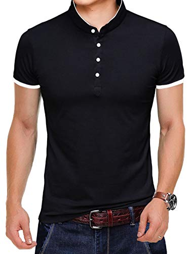 KUYIGO Mens Fashion Polo Shirt Short Sleeve Polo Tee Casual Slim Fit Basic Golf Tee Sport Polo T-shirtsSmall Black KU601-S-Black-FBA