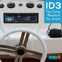 Load image into Gallery viewer, Pyle Marine Bluetooth Stereo Radio - 12v Single DIN Style Boat In dash Radio Receiver System with Built-in Mic, Digital LCD, RCA, MP3, USB, SD, AM FM Radio - Remote Control - PLMRB29B (Black)