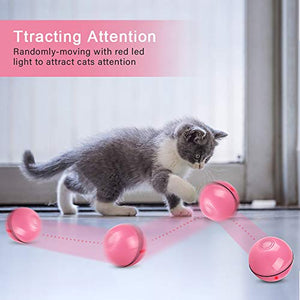 Unibelin Interactive Cat Toy Ball-Smart Pet Toy Self Rotation Rolling Ball USB Rechargeable Motion Ball Built-in LED Light with Timer Function for Cat Kitty Exercise Chase Play(Pink)