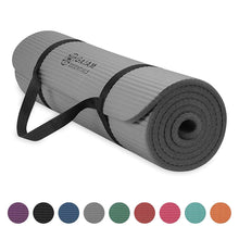 "Load image into Gallery viewer, Gaiam Essentials Thick Yoga Mat Fitness & Exercise Mat with Easy-Cinch Yoga Mat Carrier Strap (72""L x 24""W x 2/5 Inch Thick)"