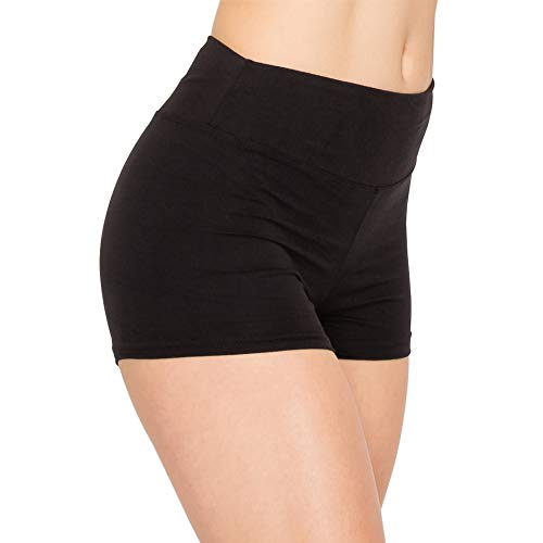 ALWAYS Women Workout Yoga Shorts - Premium Buttery Soft Solid Stretch Cheerleader Running Dance Volleyball Short Pants Black S SHO128-BLACK-S Small Sho128 / Black