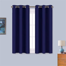 Load image into Gallery viewer, NICETOWN Blackout Draperies Curtains, All Season Thermal Insulated Solid Grommet Top Blackout Curtains/Drapes for Kid's Room (Navy Blue, 1 Pair, 34 x 45 inches)