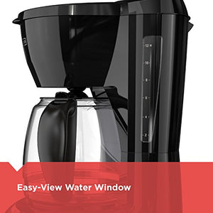 BLACK+DECKER DLX1050B 12-cup  Programmable Coffee Maker with glass carafe, Black DLX1050B-1