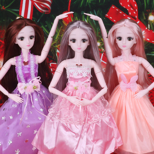 60CM Bjd Doll Long Straight Hair With Doll Clothes Accessories Fashion Dress Up Makeup Accessories Toys for Children Doll Gifts