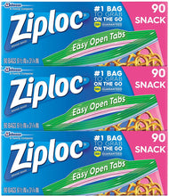 Load image into Gallery viewer, Ziploc Snack Bags, Easy Open Tabs, Ideal for packing cookies, fruits, vegetables, chips and more, 90 Count, Pack of 3