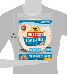 Mission Foods Mission Carb Balance Soft Taco Flour Tortillas | Low Carb, Keto | High Fiber, No Sugar | Small Size | 8 Count