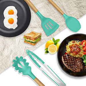 oannao 14 Pcs Silicone Cooking Utensils Kitchen Utensil Set,446°F Heat Resistant,Turner Tongs,Spatula,Spoon,Brush,Whisk. Wooden Handles Teal Kitchen Gadgets Set for Non-Stick Cookware (BPA Free) Kitchen Utensil Set(2019)