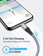 Load image into Gallery viewer, (6ft / 1.88m) LISEN iPhone Charger Cable, [ Apple MFi Certified ] [ Never Rupture ] Lightning to USB A Cable, 2.4A Fast Charging Cord Compatible with 11 Pro Max XS XR X 8 7 6S 6 Plus iPad LP401LGY-18 6 Feet Grey