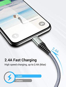(6ft / 1.88m) LISEN iPhone Charger Cable, [ Apple MFi Certified ] [ Never Rupture ] Lightning to USB A Cable, 2.4A Fast Charging Cord Compatible with 11 Pro Max XS XR X 8 7 6S 6 Plus iPad LP401LGY-18 6 Feet Grey