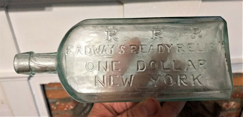 large pontil medicine RADWAYS READY RELIEF ONE DOLLAR NEW YORK rare size