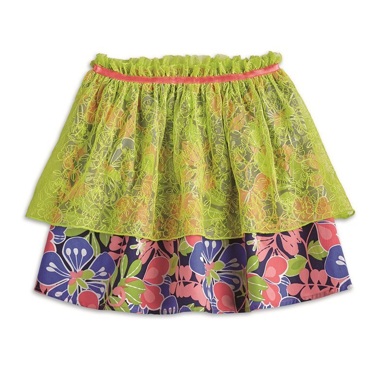 AMERICAN GIRL® -Tiered Tropical Skirt for Girls - Size: Medium (More Sizes Available)