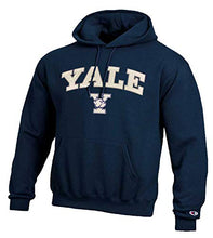 Load image into Gallery viewer, Champion Adult Tackle Twill Hooded Sweatshirt - Officially Licensed Unisex NCAA Team Apparel (Yale Bulldogs - Navy, Adult Small)