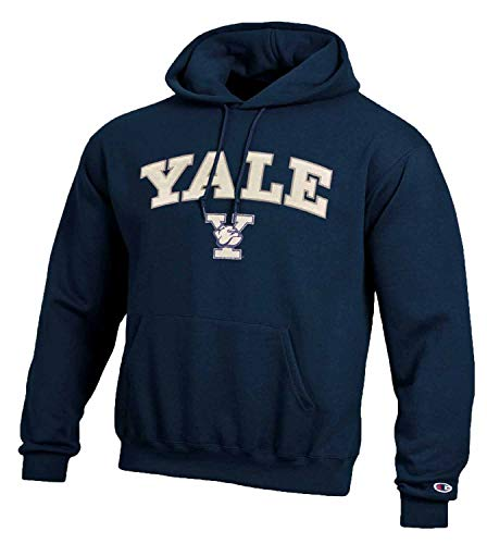 Champion Adult Tackle Twill Hooded Sweatshirt - Officially Licensed Unisex NCAA Team Apparel (Yale Bulldogs - Navy, Adult Small)
