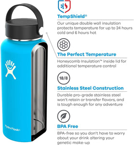 Hydro Flask Water Bottle - Stainless Steel & Vacuum Insulated - Wide Mouth with Leak Proof Flex Cap - 32 oz, Black
