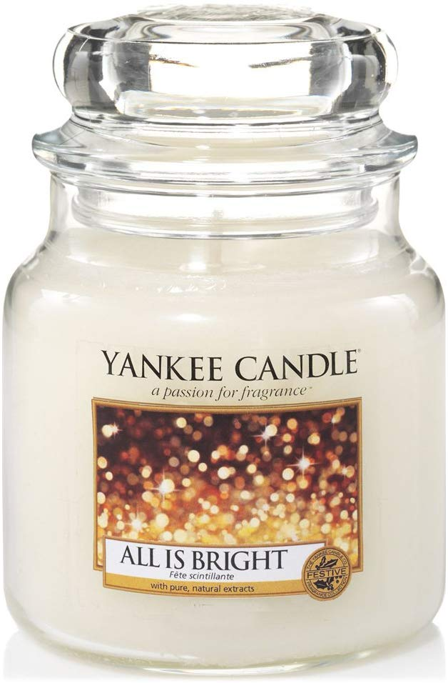 Yankee Candle All is Bright Medium Jar Candle, White