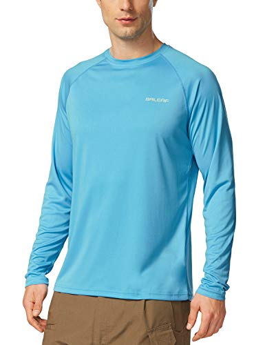 BALEAF Men's UPF 50+ Outdoor Running Long Sleeve Athletic Workout Hiking Shirt Blue Size S Baleafaga0020306217ma Small 01-long Sleeve-blue