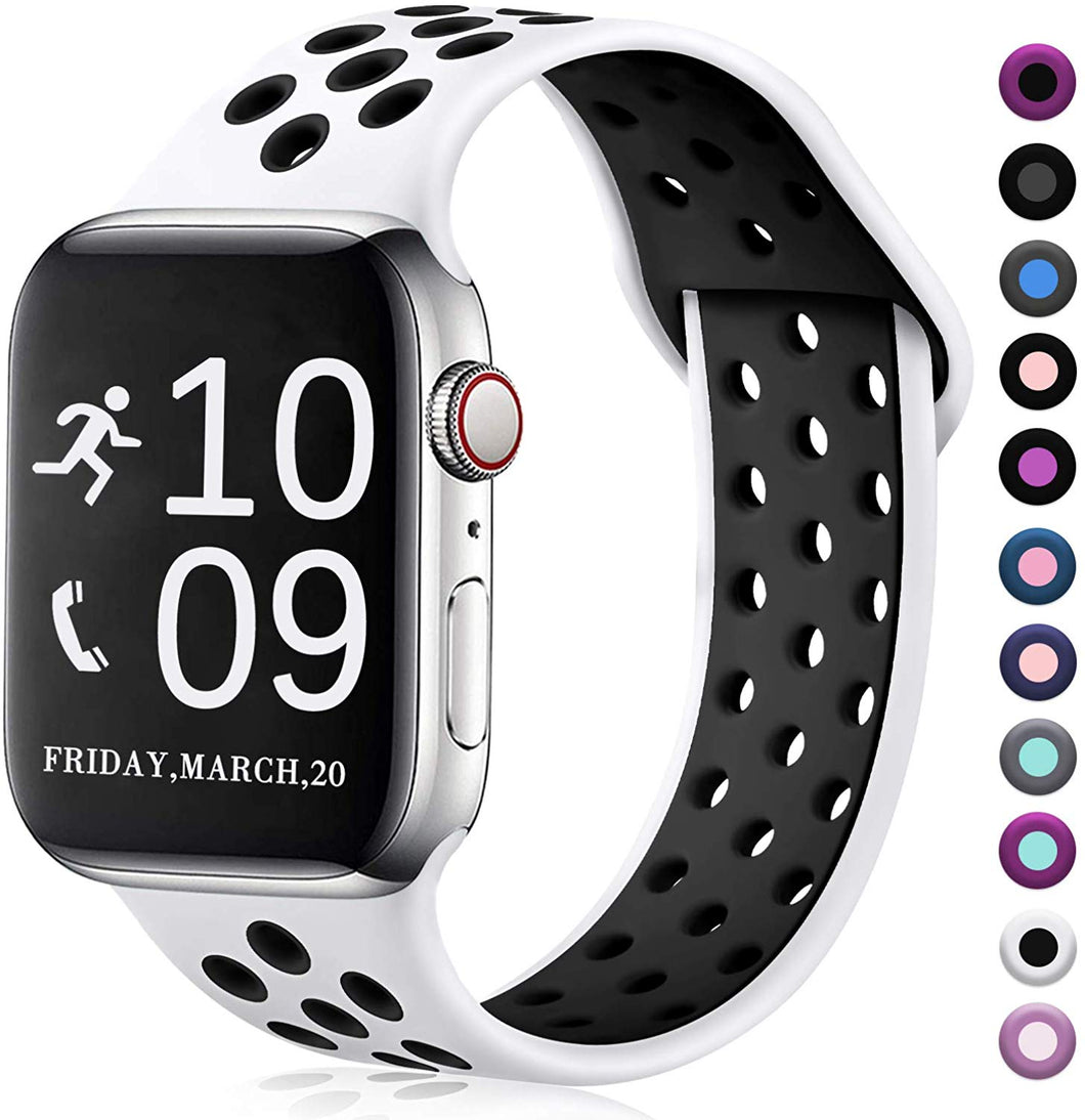 Zekapu Compatible with Apple Watch Band 42mm/38mm/40mm/44mm,Breathable Silicone Sport Replacement Wrist Band Compatible for iWatch Series 5/4/3/2/1