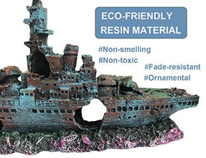 SLOCME Aquarium Shipwreck Decorations Fish Tank Ornaments - Resin Material Sunken Ship Decorations, Eco-Friendly for Freshwater Saltwater Aquarium Betta Fish Decorations 9in length Blue rust color