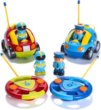 Load image into Gallery viewer, Prextex Pack of 2 Cartoon R/C Police Car and Race Car Radio Control Toys for Kids- Each with Different Frequencies So Both Can Race Together