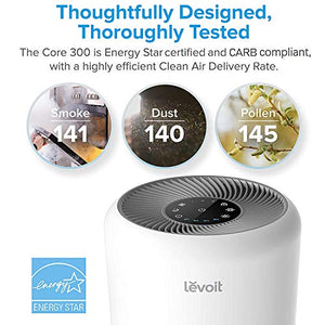 LEVOIT Air Purifier for Home Allergies and Pets Hair Smokers in Bedroom, H13 True HEPA Air Purifiers Filter, 24db Quiet Air Cleaner, Remove 99.97% Smoke Dust Mold Pollen in Large Room, Core 300, White Remove 99.97% Smoke Dust Mold Pollen for Large Room