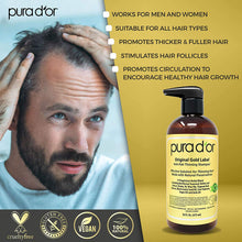 Load image into Gallery viewer, PURA D'OR Original Gold Label Anti-Thinning Shampoo Clinically Tested, Infused with Argan Oil, Biotin & Natural Ingredients, Sulfate Free, All Hair Types, Men and Women, 16 Fl Oz (Packaging may vary)