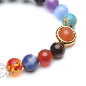 Jovivi Solar System Bracelet Universe Galaxy The Nine Planets Natural Lava Rock Beads Essentional Oil Diffuser Bracelet AJ101010100119 7 inches Gold Sun
