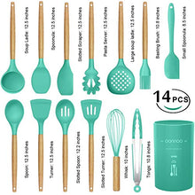 Load image into Gallery viewer, oannao 14 Pcs Silicone Cooking Utensils Kitchen Utensil Set,446°F Heat Resistant,Turner Tongs,Spatula,Spoon,Brush,Whisk. Wooden Handles Teal Kitchen Gadgets Set for Non-Stick Cookware (BPA Free) Kitchen Utensil Set(2019)