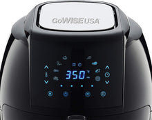 Load image into Gallery viewer, GoWISE USA GW22931 7-Quart 8-in-1 Digital Air Fryer with Basket Divider Accessory + 50 Recipes, Black, 7-Qt