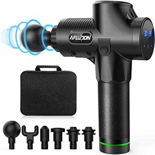 AFLUODN Massage Gun Deep Tissue Percussion Muscle Massager for Pain Relief, 30 Speed Levels, Handheld Electric Body Massager, Sports Drill Portable Super Quiet Brushless Motor (Black)
