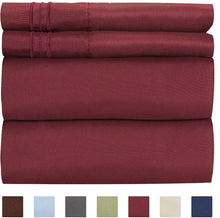 Load image into Gallery viewer, CGK Unlimited Split King Size Sheet Set – 5 Piece Set - Hotel Luxury Bed Sheets - Extra Soft - Deep Pockets - Breathable & Cooling - Wrinkle Free - Comfy – Burgundy Bed Sheets - Split Kings