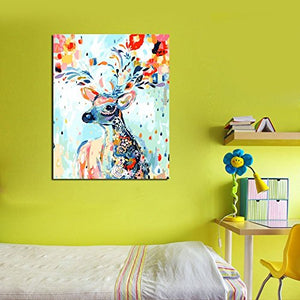 YXQSED [Wooden Framed DIY Oil Painting, Paint by Number Kits Home Decor Wall Pic Value Gift-Painted Deer 16X20 Inch