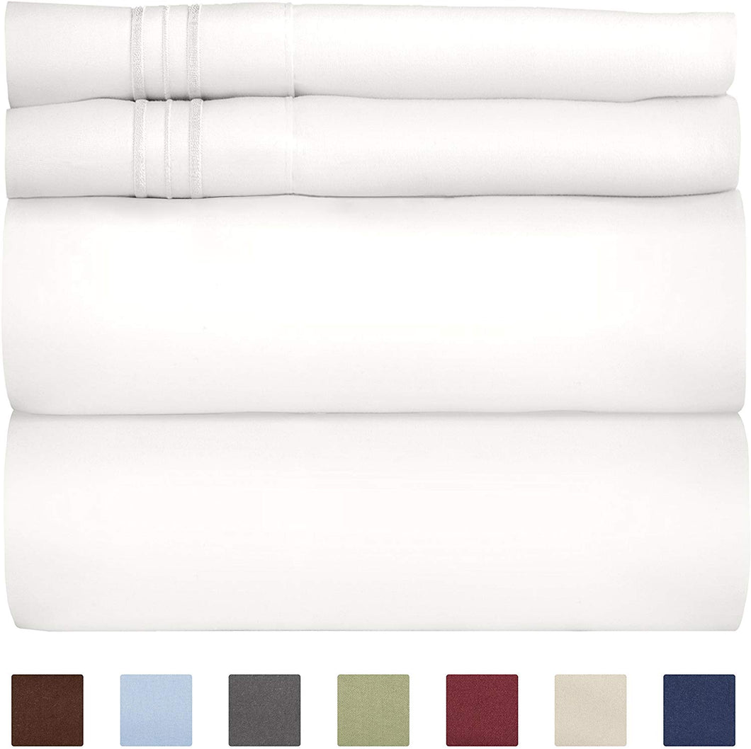 Split King Size Sheet Set – 5 Piece Set - Hotel Luxury Bed Sheets - Extra Soft - Deep Pockets - Breathable & Cooling - Wrinkle Free - Comfy - White Bed Sheets - Split Kings Sheets 5 PC