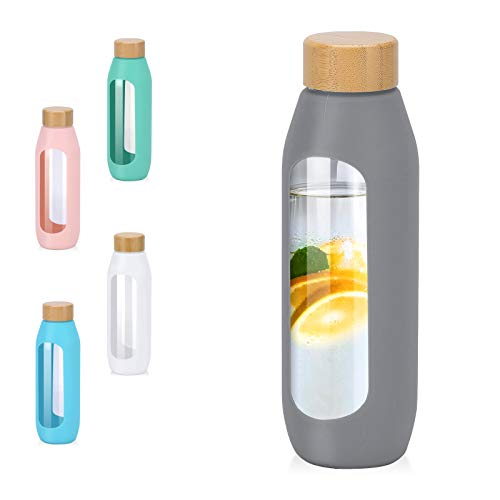 Kodrine 20oz Glass Bottles with Sleeve Silicone Sleeve,Bamboo Lid Leak Proof...