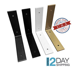 Csonka's Custom Rustics Color Angle Shelf Brackets, Black, White, Gold, Brass Powder Coat Shelve Brackets, Industrial Shelf Bracket, Modern Shelf Raw Steel Clear Coated Sealed Options: Black, White, Gold/Brass