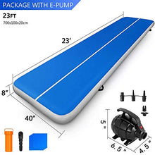Load image into Gallery viewer, Happybuy 10ft 13ft 16ft 20ft 23ft 26ft 30ft Air Track 8 inches Airtrack 4 inches Inflatable Air Track Tumbling Mat for Gymnastics Martial Arts Cheerleading Tumble Track with Pump Blue 17ft 40x4in 17ft*3.3ft*4in(5x1x0.1m) Navy Blue