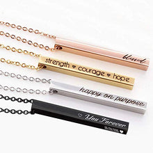 Load image into Gallery viewer, Misstyle Fashion Personalized 4 Sided Vertical Bar Necklace Custom Text Engraved 3D Bar Pendant Stainless Steel Coordinate Jewelry for Couples Gold, Rose Gold, Silver, Black
