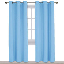 Load image into Gallery viewer, NICETOWN Tripe Wave Thermal Insulated Ring Top Blackout Window Curtains for Bedroom (Double Panels, 42 inches x 84 inches, Blue)