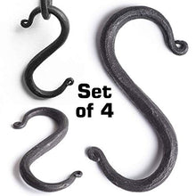 "Load image into Gallery viewer, MetalArt S Hooks Wrought Iron Black for Hanging - Hand Forged Heavy Duty 1/2 Inch pipe - 4 Hooks! 1/2"" pipe"