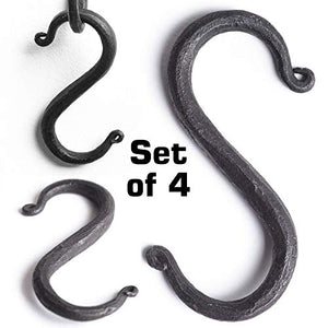 "MetalArt S Hooks Wrought Iron Black for Hanging - Hand Forged Heavy Duty 1/2 Inch pipe - 4 Hooks! 1/2"" pipe"