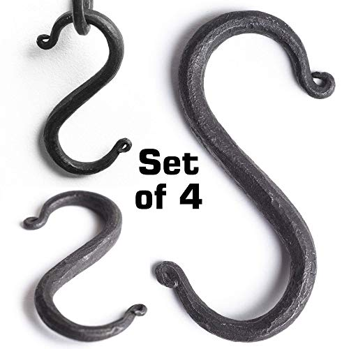 MetalArt S Hooks Wrought Iron Black for Hanging - Hand Forged Heavy Duty 1/2 Inch pipe - 4 Hooks! 1/2