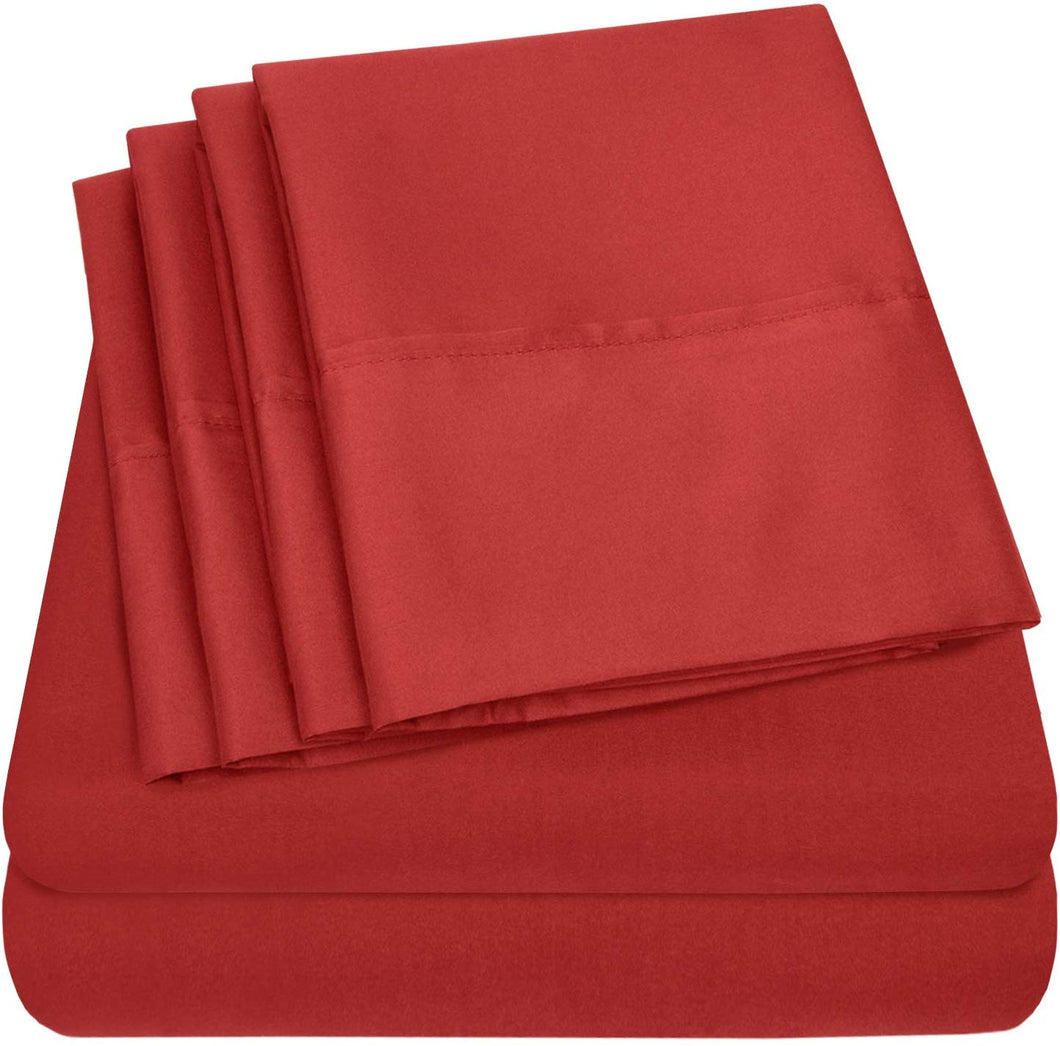 Sweet Home Collection Quality Deep Pocket Bed Sheet Set - 2 EXTRA PILLOW CASES, VALUE, Full, Samba Red, 6 Piece
