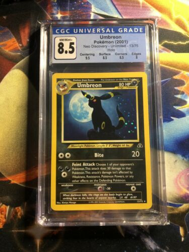 2001 Neo Discovery Umbreon 13/75 Holo Rare CGC NM+ 8.5 Pokemon Card Sub Grades