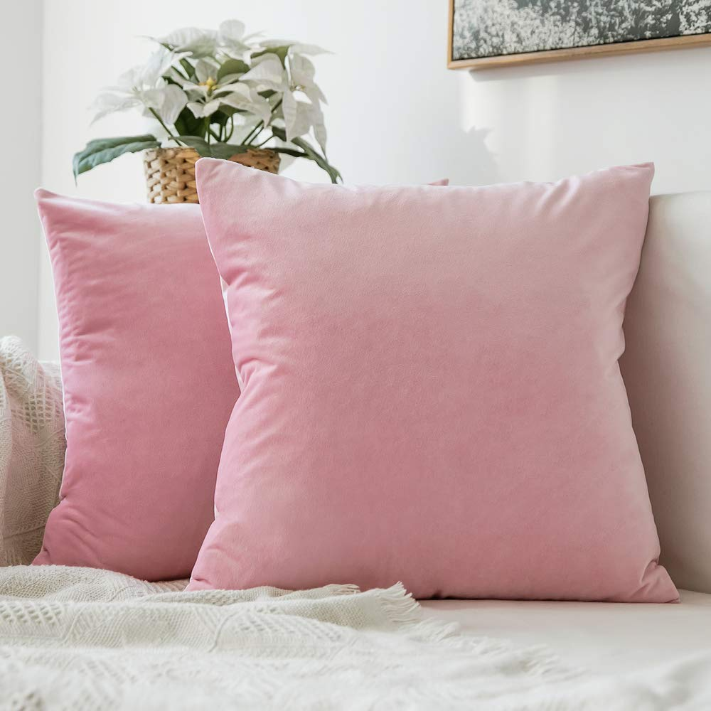 MIULEE Pack of 2 Velvet Pillow Covers Decorative Square Pillowcase Soft Solid Cushion Case for Sofa Bedroom Car 24 x 24 Inch 60 x 60 cm Bright Pink