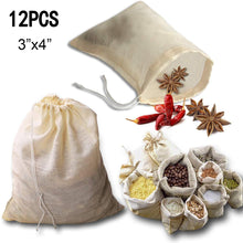 Load image into Gallery viewer, kingleder 12Pack Reusable Drawstring Cotton Soup Bags, Straining Herbs Cheesecloth Bags, Coffee Tea Brew Bags, Soup Gravy Broth Stew Bags, Bone Broth Brew Bags(3''x4'')