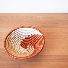 Load image into Gallery viewer, Amsha Small African Basket- Juru/Rwanda Basket/Woven Bowl/Sisal & Sweetgrass Basket/Burnt Sienna, Tan, White